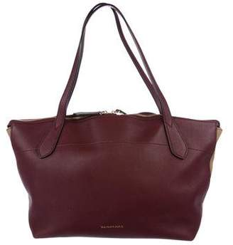 Burberry Medium House Check & Leather Tote
