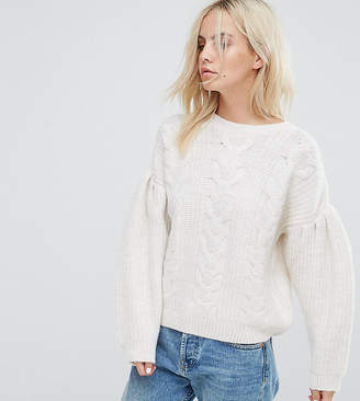 Asos Jumper In Cable With Volume Sleeves