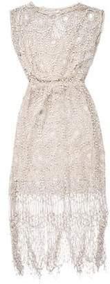 Alice + Olivia Fringe-Trimmed Lace Dress