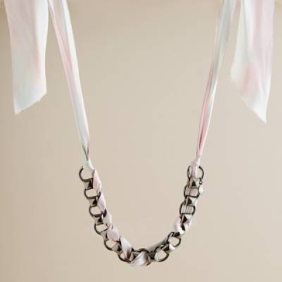 Ribboned fourchette necklace