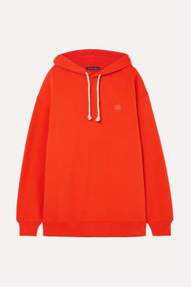Acne Studios Farrin Face Oversized Appliquéd Cotton-jersey Hoodie - Orange