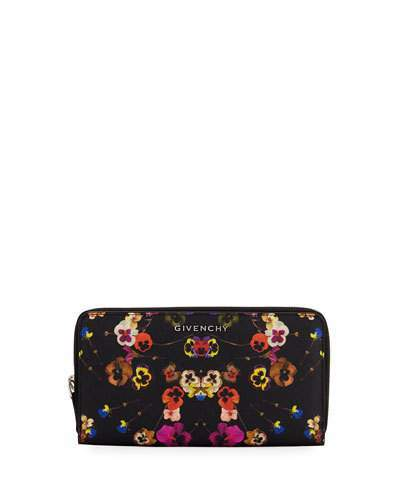 Givenchy Givenchy Pansies Coated Canvas Zip Wallet, Multi