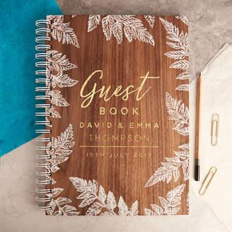 Oakdene Designs Personalised Gold Botanical Walnut Wedding Guest Book