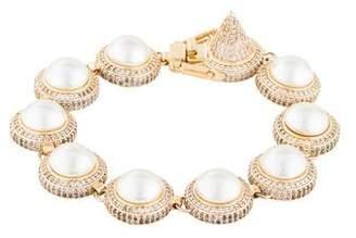 Eddie Borgo Faux Pearl & Crystal Link Bracelet