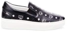 MCM Men's Visetos Coated Canvas Monogram Slip-On Sneakers - Black - Size 46 (13)