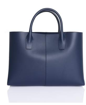 Mansur Gavriel Mini Folded Navy Leather Tote