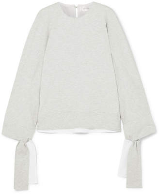 Victoria Beckham Victoria, Tie-detailed Stretch-jersey Sweatshirt - Gray