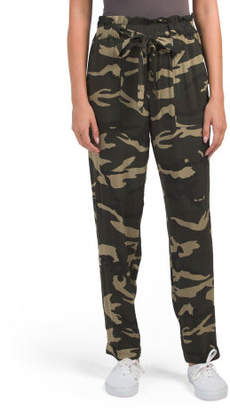 Juniors Tie Waist Camo Pants