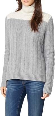 Habitual Devin Colorblock Cable Knit Turtleneck Sweater
