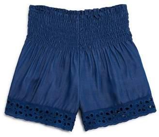 Vintage Havana Girls' Smocked Chambray Shorts - Big Kid