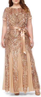 R & M Richards Short Sleeve Evening Gown-Plus