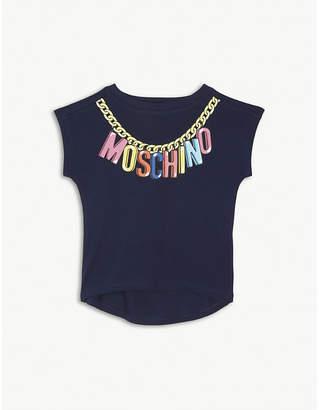 Moschino Chain logo cotton-blend T-shirt 4-14 years