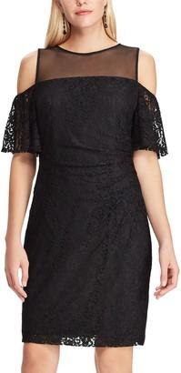 Chaps Women's Cold-Shoulder Lace Sheath Dress