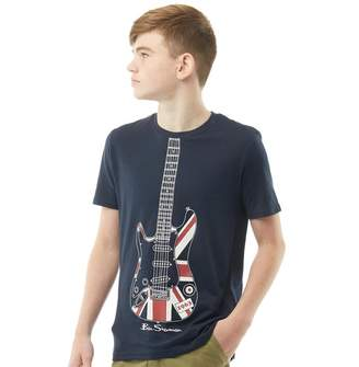 Ben Sherman Junior Boys Union Jack Guitar T-Shirt Navy