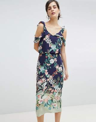Oasis Fitzwilliam Cold Shoulder Floral Print Midi Dress