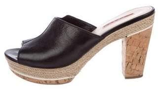 PeepToe Prada Sport Leather Peep-Toe Sandals