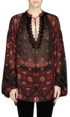 Saint Laurent Printed Peasant Blouse