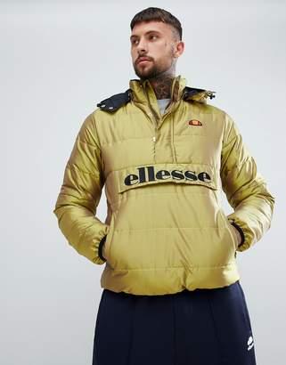 Ellesse Trillini padded iridescent overhead jacket in gold