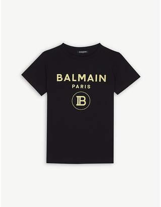 Balmain Glitter logo cotton T-shirt 4-14 years