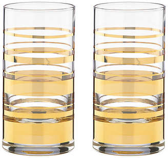 Kate Spade Set of 2 Hampton Street Highball Glasses - Clear/Gold