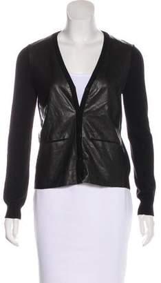 J Brand Merino Wool Leather-Paneled Cardigan