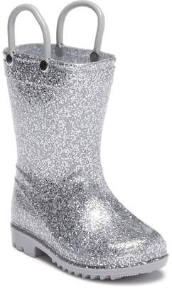 LILLY OF NEW YORK Silver Glitter Rainboot (Toddler)