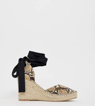 11797379f473 Asos Design DESIGN Wide Fit Jaylen espadrille wedges in snake