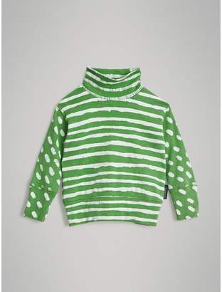 Burberry Childrens Roll-neck Spot and Stripe Print Cotton Top
