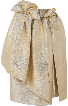 Stella McCartney Brynn Asymmetric Gathered Lurex Skirt - Gold
