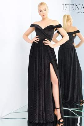 Mac Duggal Polka-Dot Off-Shoulder Gown