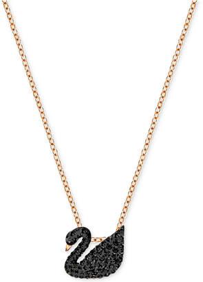 "Swarovski Rose Gold-Tone Crystal Pave Black Swan 14-7/8"" Pendant Necklace"