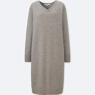Uniqlo Women's Merino-blend V-Neck Long-sleeve Dress