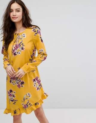 Vila floral printed mini dress with frill hem