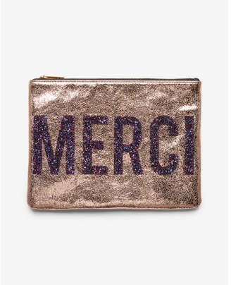 Express merci metallic glitter clutch