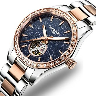 Carnival レディース自動機械Female Watch Personality Sparkling Stars In The Blue Skyスケルトンダイヤル Rose Gold Blue