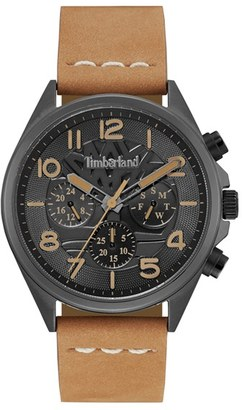 Timberland 'Bartlett Ii' Multifunction Leather Strap Watch, 44Mm X 48Mm $179 thestylecure.com