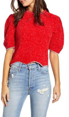 ENGLISH FACTORY Metallic Chenille Crop Sweater