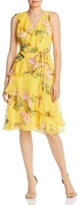 Adrianna Papell Faux-Wrap Printed Chiffon Dress