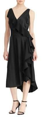 Lauren Ralph Lauren Asymmetric Ruffle Fit-and-Flare Dress