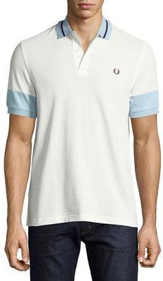 Fred Perry Colorblock Pique Polo Shirt, White $95 thestylecure.com