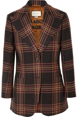 Gucci Checked Wool-twill Blazer - Brown