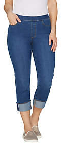 Susan Graver Stretch Denim Reg Pull-On CuffedCrop Pants