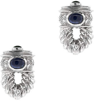One Kings Lane Vintage White Gold Diamond and Sapphire Earrings