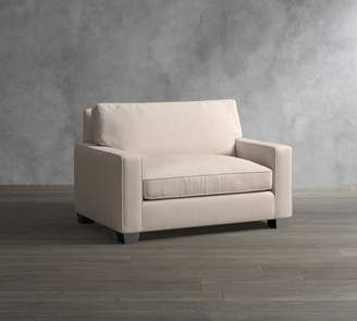 Pottery Barn PB Comfort Square Arm Upholstered Twin Armchair Sleeper With Memory Foam Mattress