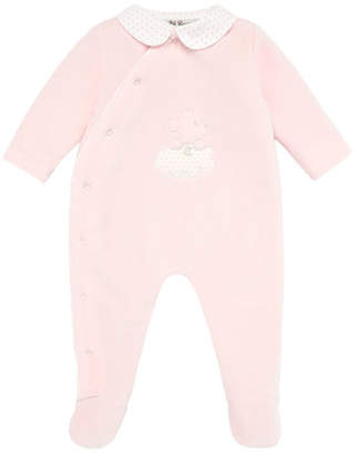 Carrera Pili Velour Bear Embroidered Footie Pajamas, Size 1-12 Months