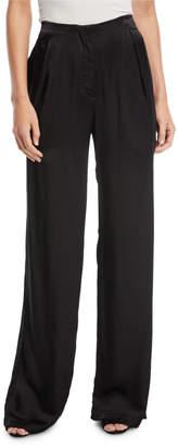 Neiman Marcus Urban Zen Wide-Leg Crepe Satin Pants