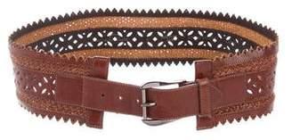 Oscar de la Renta Leather Laser Cut Belt