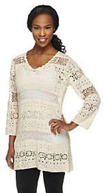 Denim & Co. V-neck 3/4 Sleeve Open CrochetSweater