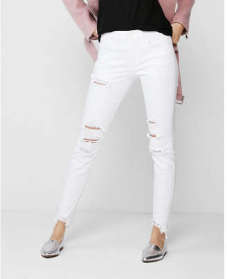 Express petite mid rise white distressed stretch jean ankle leggings