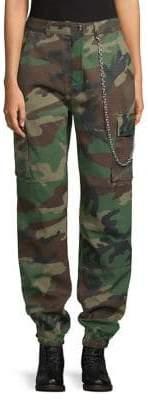 Missguided Khaki Premium Chain Cotton Trousers